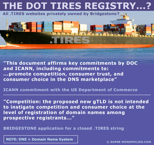 icann and bridgestone statements about .tires domains